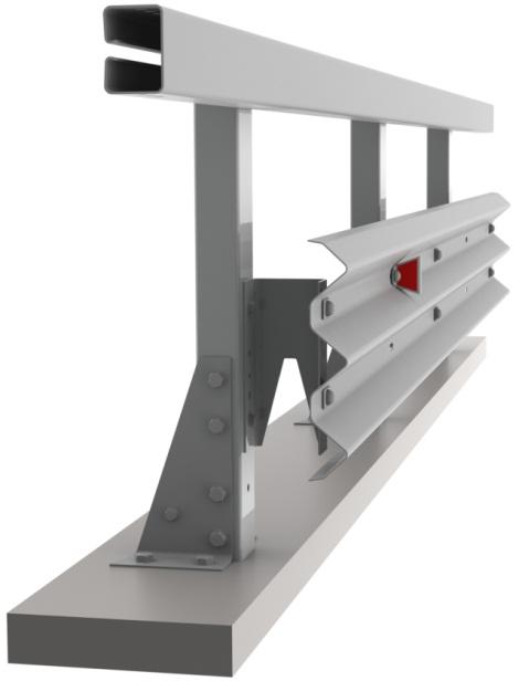 Мостовое одностороннее барьерное ограждение с применением 3-х волновой балки.